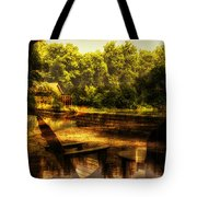 Patio Seating At The Nature Center Merged Image Tote Bag