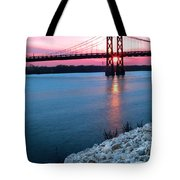 Patriotic Sunset Thru Bridge Tote Bag