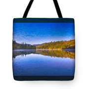 Patterson Lake Fall Morning Abstract Landscape Painting Tote Bag