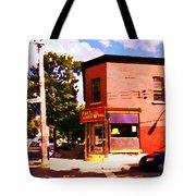 Paul Patate Pointe St Charles South West Montreal Autumn Street Scene Carole Spandau Tote Bag