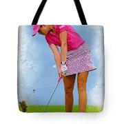 Paula Creamer In Actionon The Evian Masters Tote Bag