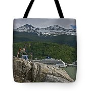 Pause In Wonder At Cruise Ships In Alaska Tote Bag