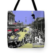 Paving East Congress In Tucson 1913 The Year Villa Visited Tucson Tote Bag