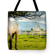Payson Country Temple Oil Paint Texture Tote Bag