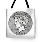 Graphite Peace Dollar Tote Bag