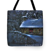 Peace On Earth Holiday Card Moonlight On Stone House.  Tote Bag