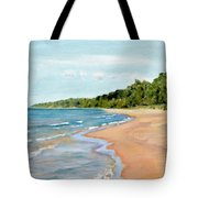 Peaceful Beach At Pier Cove Tote Bag by Michelle Calkins