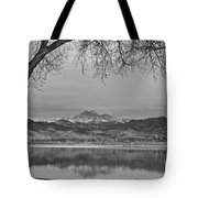 Peaceful Early Morning First Light Longs Peak View Bw Tote Bag