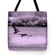 Peaceful Holidays Card - Winter Ducks Tote Bag