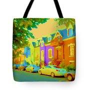 Peaceful Painted Pastel Rowhouses Printemps Plateau Montreal Scene Du Rue Carole Spandau Tote Bag