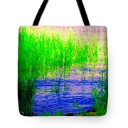Peaceful Stream  Quebec Landscape Art Tall Grasses At The Lakeshore Waterscene Carole Spandau Tote Bag