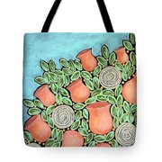 Peach Blossoms And Licorice Swirls Tote Bag