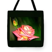 Peach Rose Watercolor Tote Bag