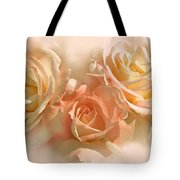 Peach Roses In The Mist Tote Bag