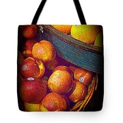 Peaches And Citrus With Blue Wooden Basket Tote Bag