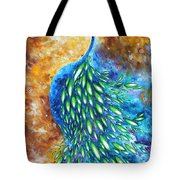 Peacock Abstract Bird Original Painting In Bloom By Madart Tote Bag