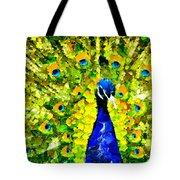 Peacock Abstract Realism Tote Bag