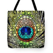 Peacock Feather - Stone Rock'd Art By Sharon Cummings Tote Bag