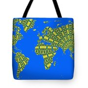 Peacock Feather World Map Tote Bag