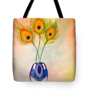 Peacock Feathers In A Vase Tote Bag