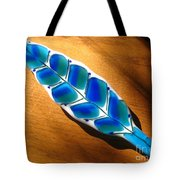 Peacock Fused Glass Leaf Tote Bag