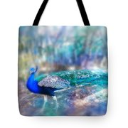 Peacock In The Mist Tote Bag