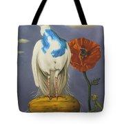 Peacock On A Papaya Tote Bag
