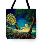 Peacock Strolls On The Beach Tote Bag