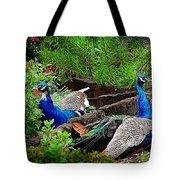 Peacocks In The Garden Tote Bag