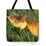 Pearl Crescent Butterfly On Yellow Leaf Tote Bag