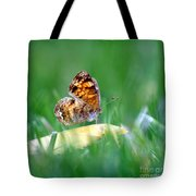 Pearl Crescent Butterfly Square Grass Tote Bag