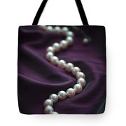 Pearl Necklace On Purple Silk Tote Bag