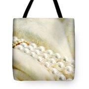 Pearls On White Velvet Tote Bag