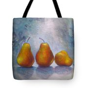 Pears On Blue Original Acrylic Painting Tote Bag