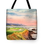 Pebble Beach Golf Course Hole 7 Tote Bag by Bill Holkham