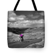 Pedalling The Pass In Pink  Tote Bag