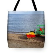 Pedalo On The Shore Of Lake Issyk Kul In Kyrgyzstan Tote Bag