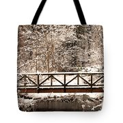 Pedestrian Bridge In The Snow Tote Bag