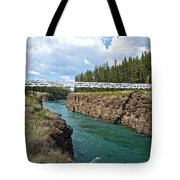 Pedestrian Bridge Over Yukon River In Miles Canyon Near Whitehorse-yk Tote Bag