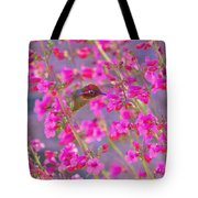 Peeking Through The Pink Penstemons Tote Bag