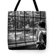 Peering Out The Window Bw Tote Bag