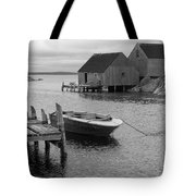 Peggys Cove In Black And White Tote Bag
