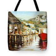 Peggy's Cove Nova Scotia Fishing Village With Red Boat Tote Bag