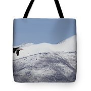 Pelican And Mountains Tote Bag
