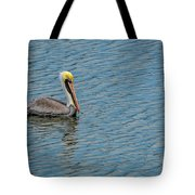 Pelican Drifting On Rippled Water Tote Bag