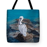 Pelican On The Rocks Tote Bag