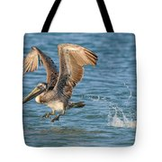 Pelican Taking Off Tote Bag