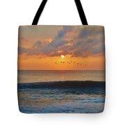 Pelicans At Sunrise 9 10/18 Tote Bag
