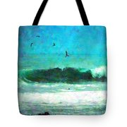 Pelicans Enjoying The Mighty Pacific Impressionism Tote Bag