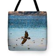 Pelicans Flocking On The Ocean Tote Bag